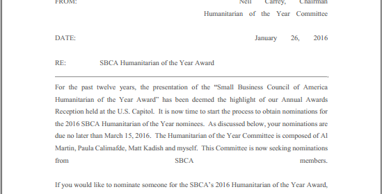 2016 SBCA Humanitarian of the Year Nominations Now Accepted