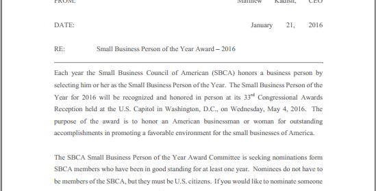 2016 Small Business Person of the Year Nominations Accepted