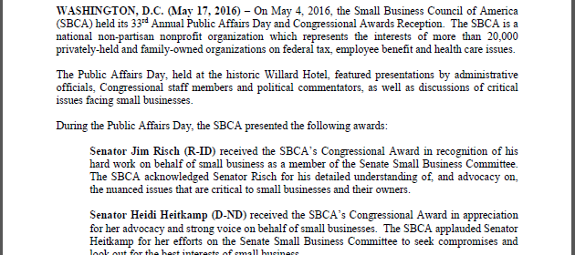 SBCA 33rd Annual Public Affairs Day And Congressional Awards Reception