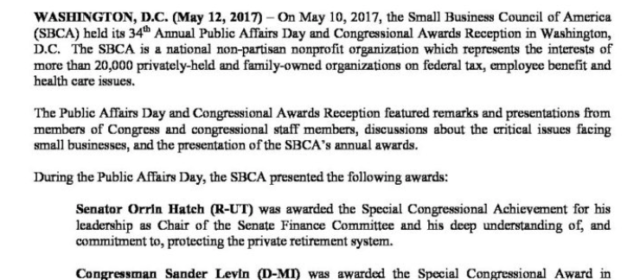 SBCA 34rd Annual Public Affairs Day And Congressional Awards Reception