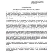 SBCA Raises Concerns About Senate Tax Bill