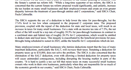 SBCA Raises Concerns About Senate Tax Bill