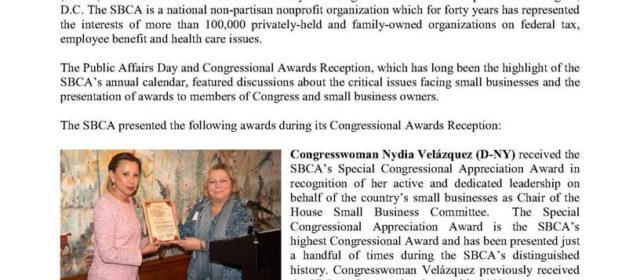 SBCA Honors Members of Congress And Small Business Owners During 36th Annual Public Affairs Day and Congressional Award Reception
