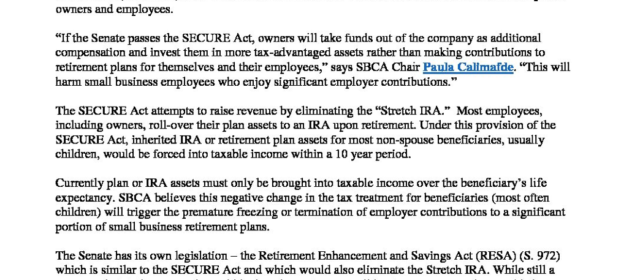 SECURE Act Will Chill Small Business Retirement Plans